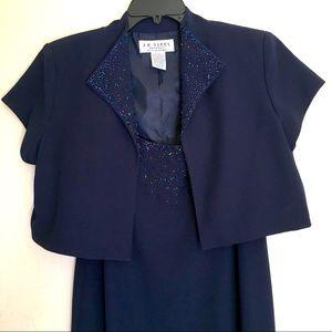 2-Piece Crop Jacket & Maxi Dress Beaded Tags Sz14P
